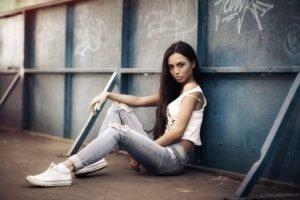 women, Model, Jeans