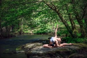 yoga, Nature, Women, Stretching, River