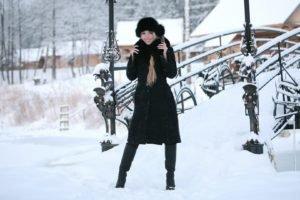 women, Model, Snow, Winter, Leather boots, Blonde, Smiling, Long hair, Bridge