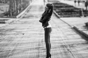 women, Model, Road, Jeans