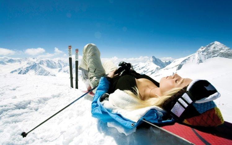 women, Model, Blonde, Snowboards, Snow, Winter HD Wallpaper Desktop Background