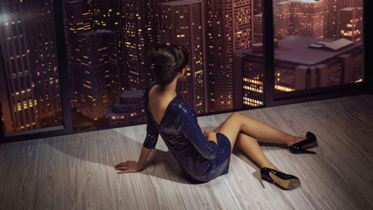 women, Model, Window, City, High heels HD Wallpaper Desktop Background
