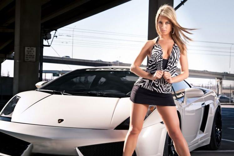 women, Model, Car, Blonde, Short skirt HD Wallpaper Desktop Background