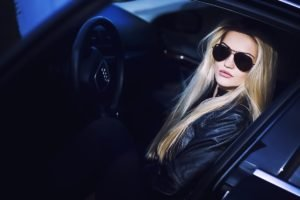 women, Model, Blonde, Glasses, Women with cars