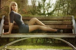 women, Model, Blonde, Short skirt