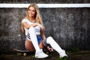 women, Model, Blonde, Walls, Skateboard, Jean shorts