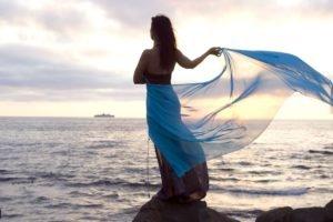 women, Model, Sea, Rock