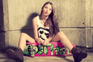 women, Walls, Skateboard, Spread legs, Tank top