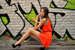 Tatyana Beglecova, Women, Model, Walls, Graffiti, High heels