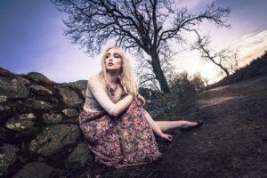 women, Model, Blonde, Road, Trees