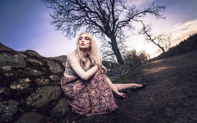 women, Model, Blonde, Road, Trees HD Wallpaper Desktop Background