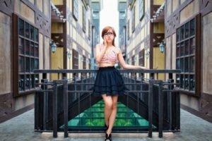women, Model, Glasses, Skirt, Asian