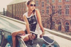 women, Model, Glasses, Skateboard