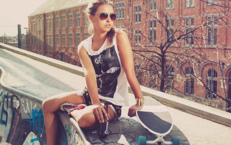 women, Model, Glasses, Skateboard HD Wallpaper Desktop Background