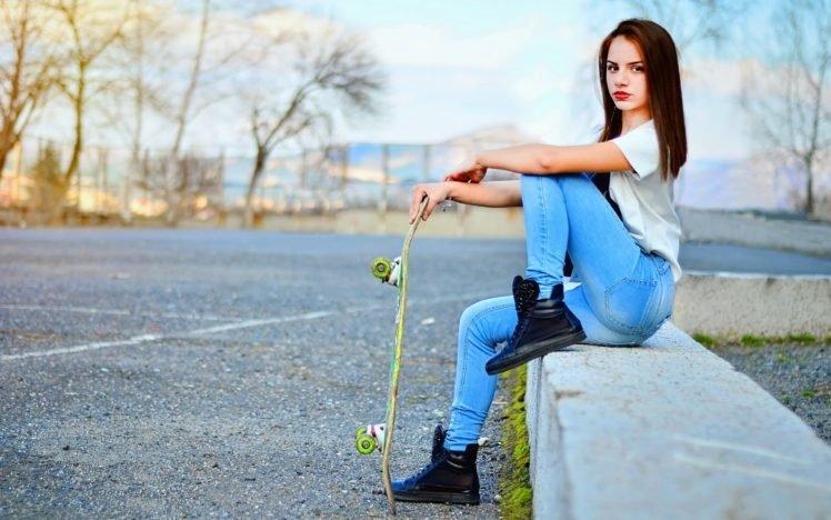 women, Model, Jeans, Road, Skateboard HD Wallpaper Desktop Background