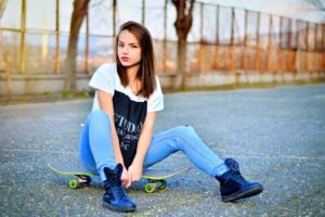 women, Model, Jeans, Road, Skateboard