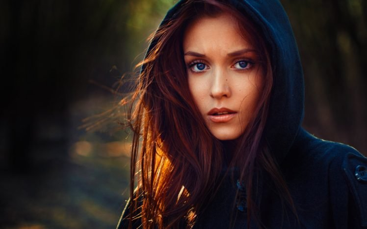 women, Model, Face, Sweater, Portrait, Redhead, Blue eyes HD Wallpaper Desktop Background