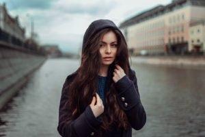 women, Model, Sweater, River, Portrait