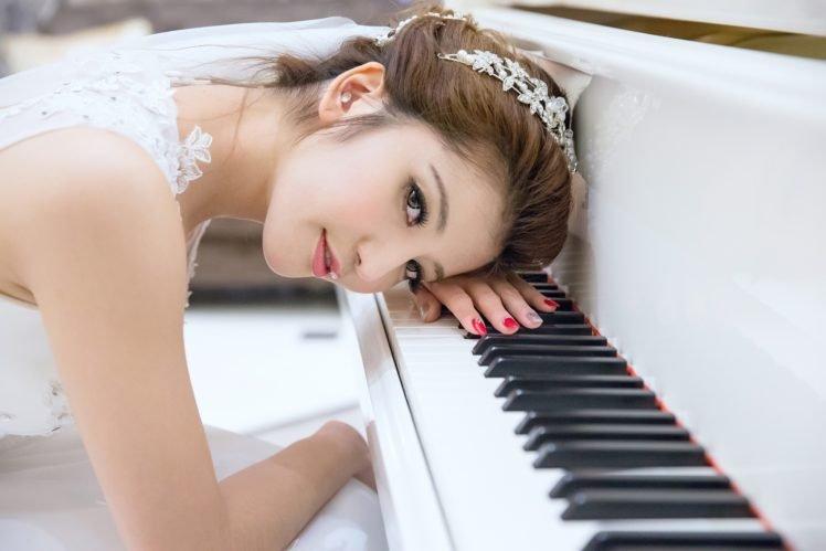 piano, Women, Asian, Brunette, White dress HD Wallpaper Desktop Background