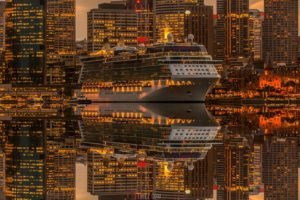 city, Ship, Skyscraper, Lights, Reflection, Photo manipulation, Sydney