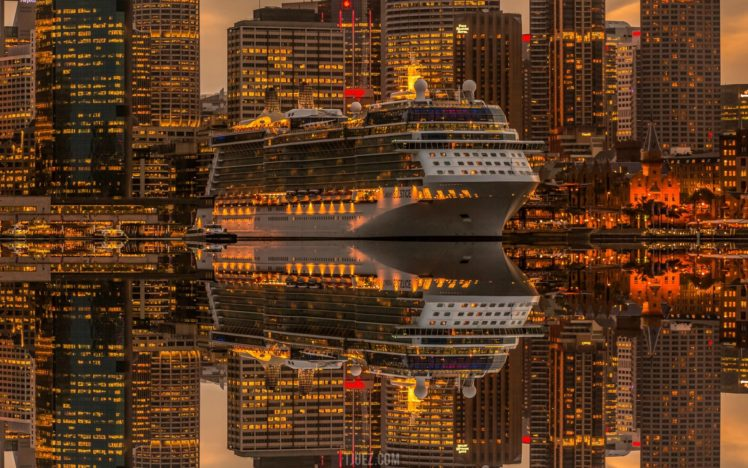 city, Ship, Skyscraper, Lights, Reflection, Photo manipulation, Sydney HD Wallpaper Desktop Background