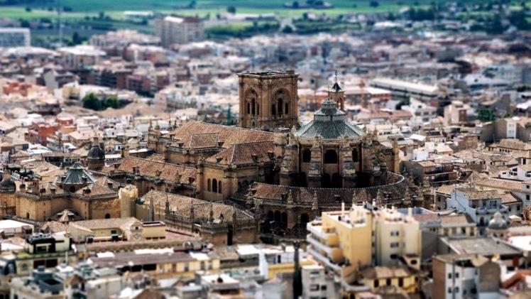 cityscape, Building, Tilt shift, Spain, Granada HD Wallpaper Desktop Background