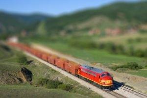 train, Blurred, Tilt shift, Diesel locomotives