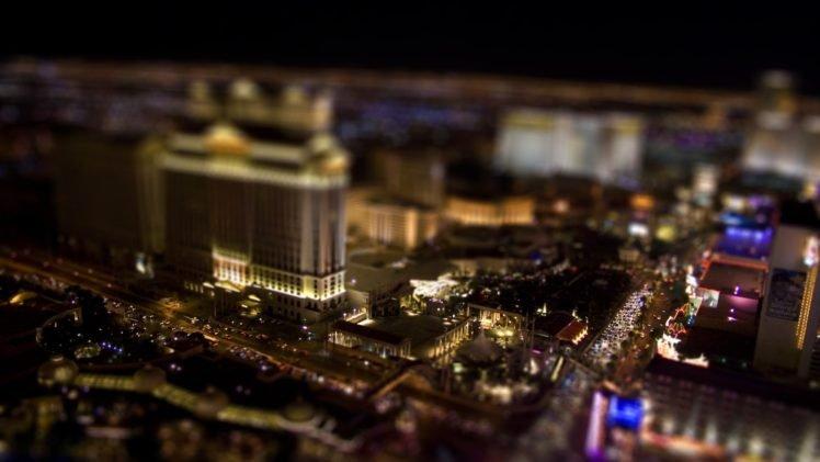 tilt shift, Cityscape, Las Vegas, Lights HD Wallpaper Desktop Background
