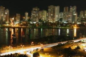 cityscape, Light trails, Boat, Night, Tilt shift