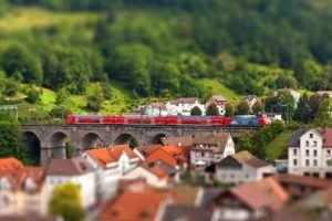 cityscape, Train, Tilt shift, Bridge