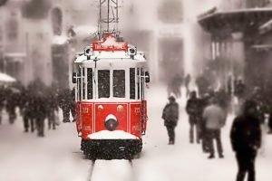 Turkey, Tram, Snow, Istanbul, Taksim