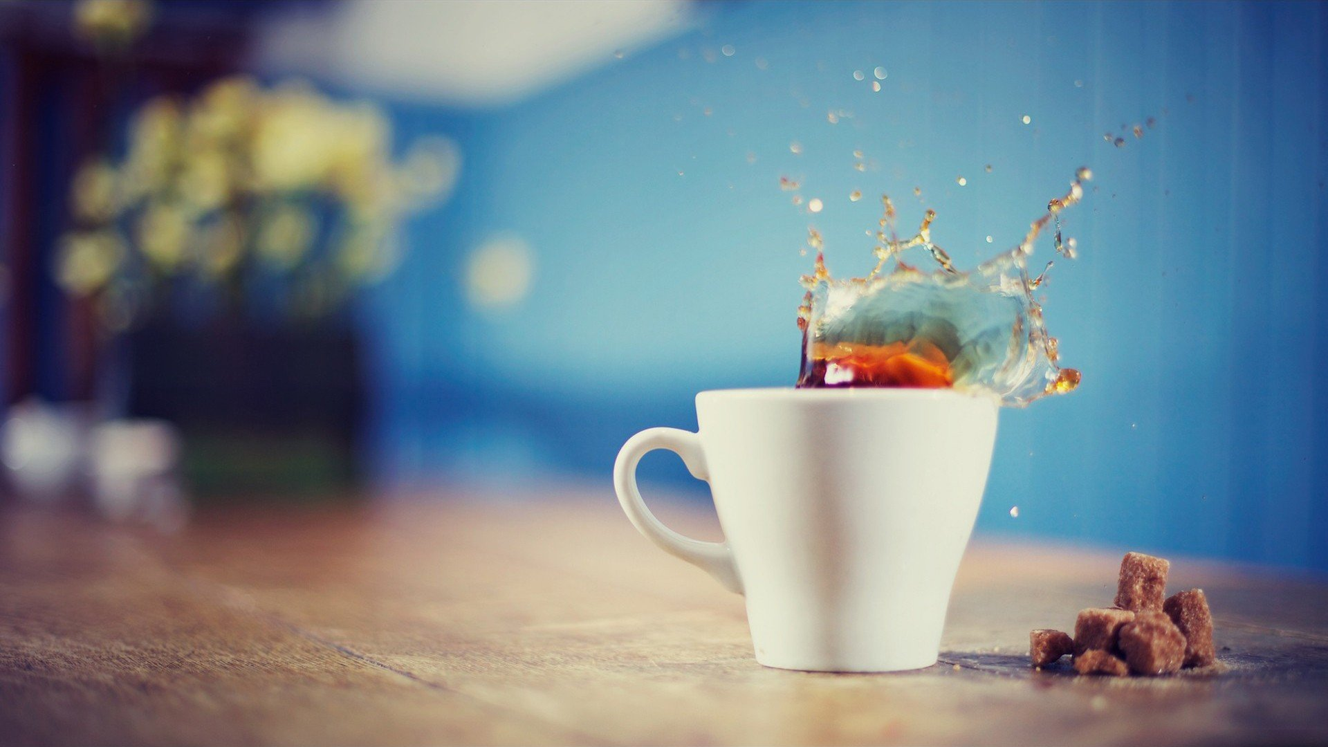 coffee, Cup, Splashes, Sugar, Depth of field Wallpaper