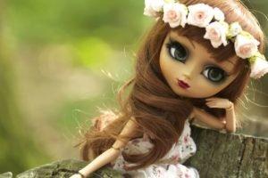 doll, Green eyes, Toys, Wreaths