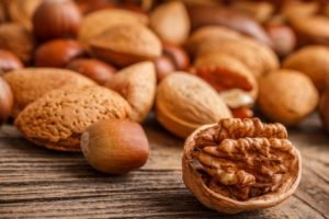 nuts, Closeup, Food, Wooden surface