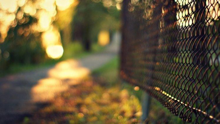 fence, Road, Blurred, Bokeh, Depth of field HD Wallpaper Desktop Background