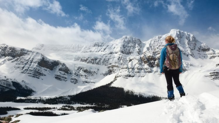 blonde, Mountain, Snow HD Wallpaper Desktop Background