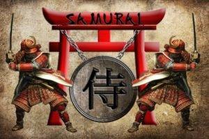 samurai, Shields, Torii