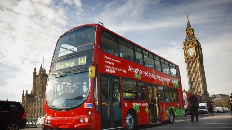 Big Ben, London, Buses, Doubledecker, Road, Clocktowers HD Wallpaper Desktop Background