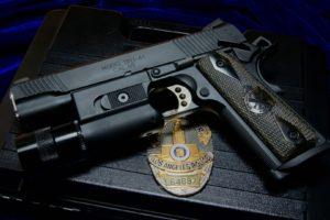 police, CAL. 45, M1911, Gun, Weapon, Badge