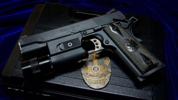 Police CAL 45 M1911 Gun Weapon Badge HD Wallpaper Desktop