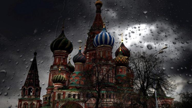 Moscow, Rain, Water drops, Church HD Wallpaper Desktop Background