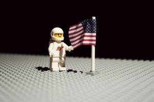 LEGO, Moon, American flag