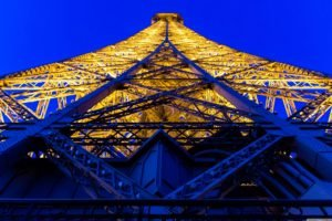 Eiffel Tower, Architecture, Lights, Worms eye view, Paris