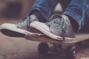 skateboard, Shoes, Jeans, Blurred