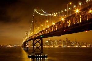 architecture, Bridge, Night, Lights, Cityscape, Skyscraper