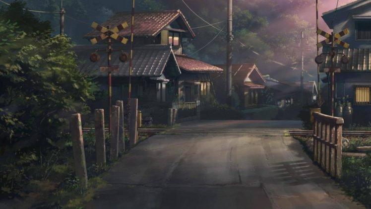 Japan, Road, Railway crossing, Drawing HD Wallpaper Desktop Background