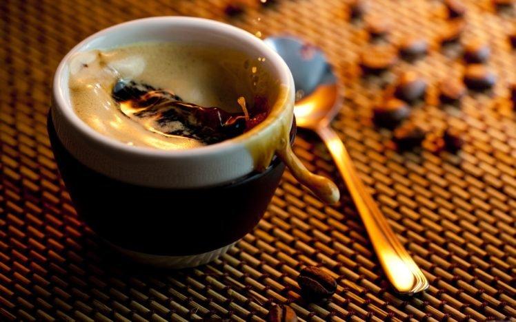 coffee, Spoons, Splashes, Cup, Liquid HD Wallpaper Desktop Background