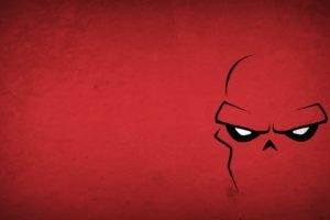 Red Skull, Minimalism, Blo0p, Red background