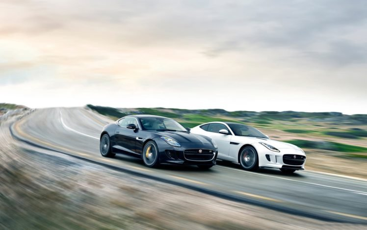 2015 Jaguar F Type Coupe Black White Road Hd Wallpapers
