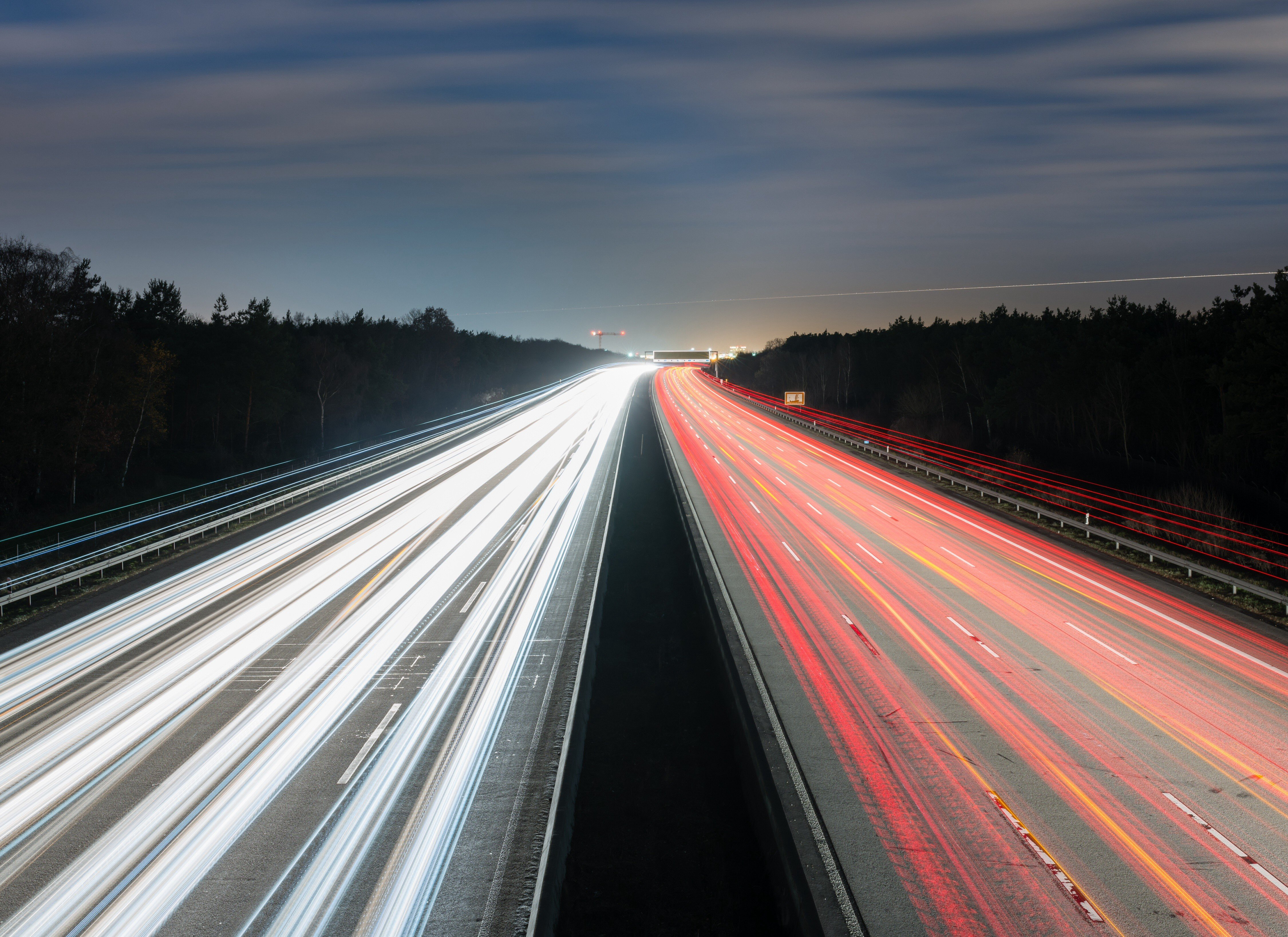 Road, Traffic Lights, Long Exposure, Night, Highway, Trees